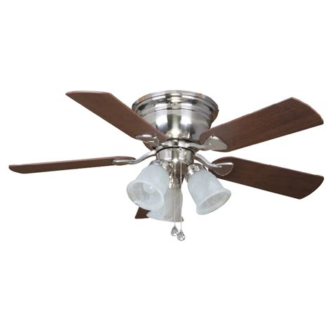 Flush Ceiling Fan With Light Shop Harbor Centerville 42 In Brushed Nickel Flush Mount Ceiling Fan With Light Kit At