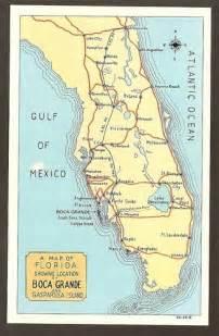 postcard map of florida showing location of boca grande