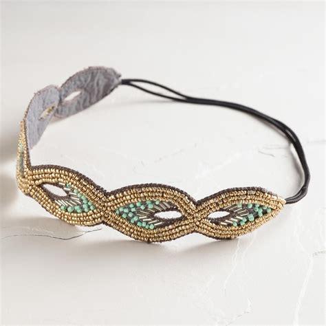 beaded headbands mint and gray beaded headband world market