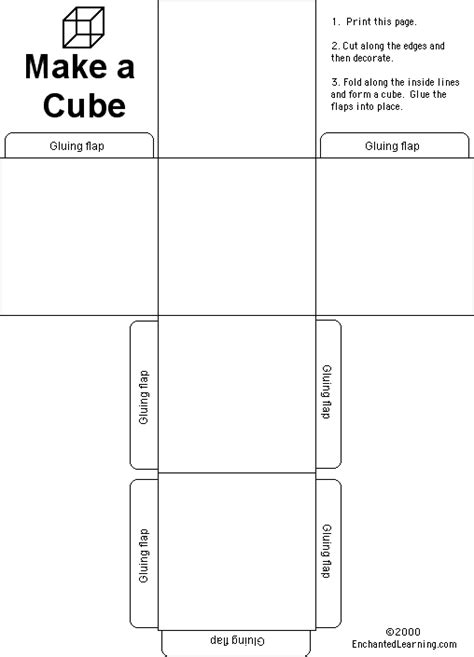 How To Make A Cube Out Of Paper Without Glue - pattern for cube idea make cubes but students color