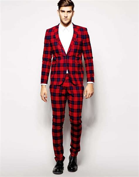 xmas pattern suit the flashy holiday suit vito plaid suit jacket in slim fit