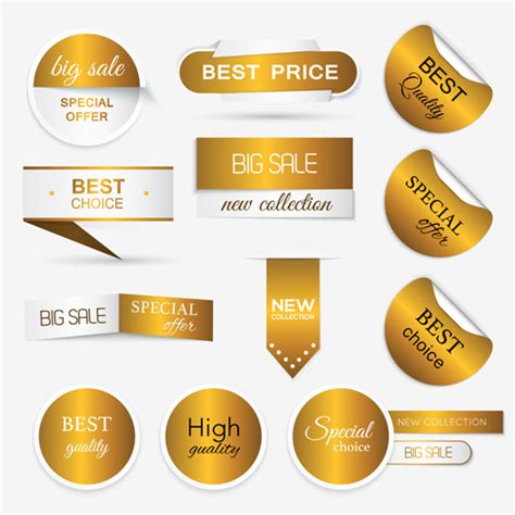 Aufkleber Goldene Schrift by Golden Sticker With Badge And Banners Vector Vector