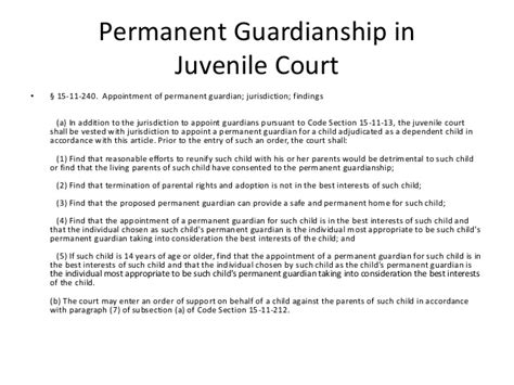 permanent guardianship 2 objection to petition to