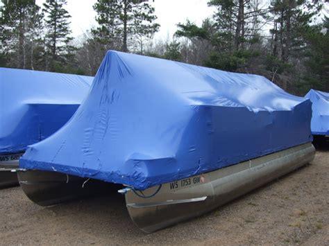 pontoon boat shrink wrap frame marina services minocqua lakeside boat rental storage