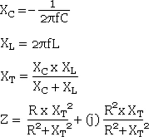 formula for impedance of an inductor capacitor inductor and resistor in parallel calculator