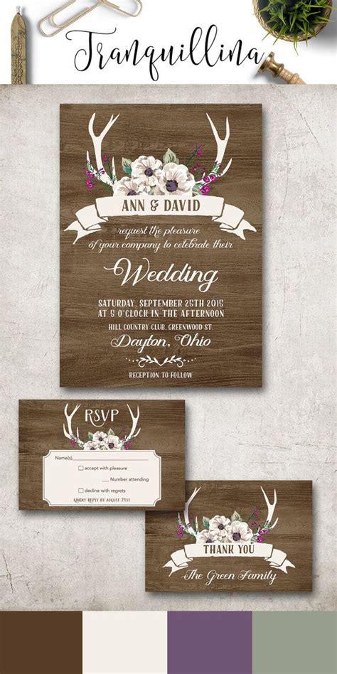deer wedding invitations deer antlers wedding invitation printable rustic wedding