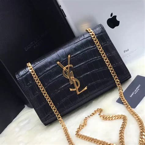 ysl monogram chain bag cm croco black gold