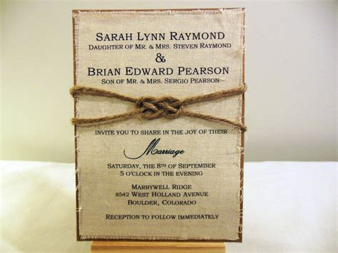 diy rustic wedding invitation kit burlap fabric by