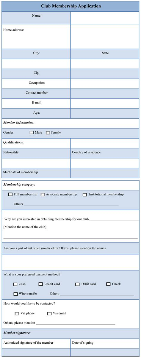 application template for club membership sample of club