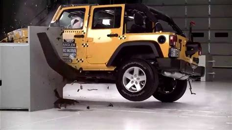 crashed white jeep wrangler iihs 2015 jeep wrangler 4 door small overlap crash