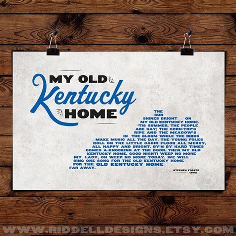 printable lyrics to my old kentucky home my old kentucky home lyrics 17x11 art print by