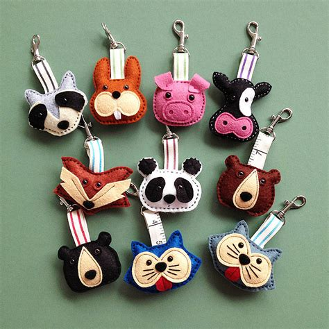 Handmade Animals - handmade animal felt key rings by thebigforest