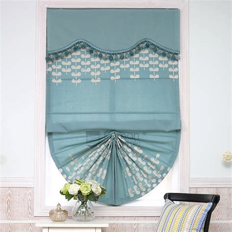 leaf patterned roman blinds modern leaf pattern embroidery fan shaped blue roman shades