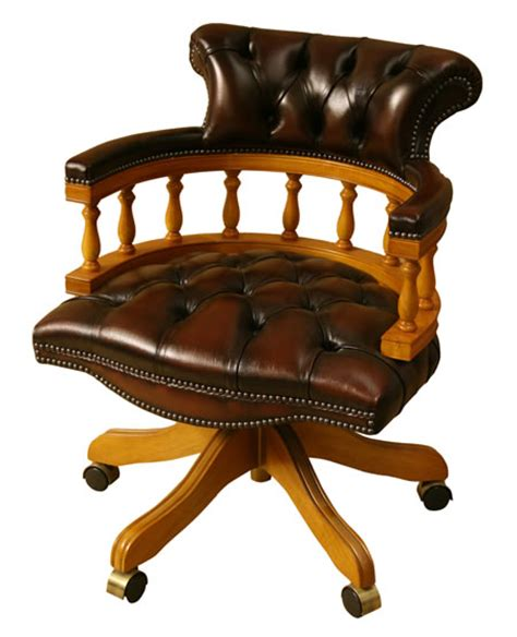 captains chair leather yew  mahogany reproduction desk chairs  furniture
