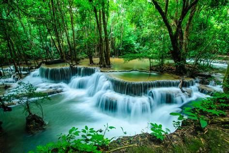 Wall Murals Removable huay mae khamin waterfall flowing water paradise in