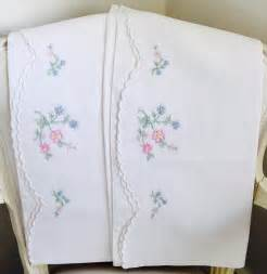 Embroidered Pillow Cases by Vintage Linen Embroidered Pillowcases Pretty