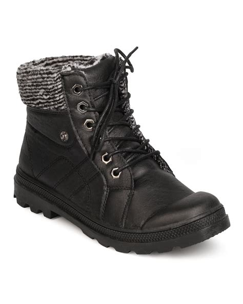 Trim Boots shoes leatherette lace up sweater trim snow boot