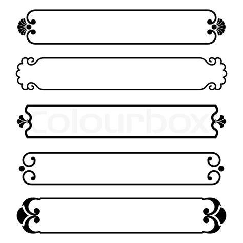 Modern Victorian Home Decor set of simple black banners border frame stock vector