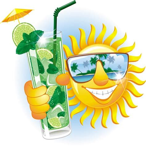 tropical drink emoji sun smiley face expressions vector