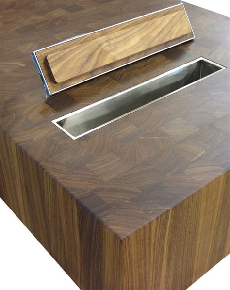 Kitchen Island Butcher Block Tops wood countertops with trash holes by grothouse