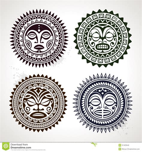 set of polynesian tattoo styled masks stock vector image