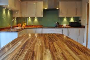 full stave zebrano worktops in an unusual configuration with the