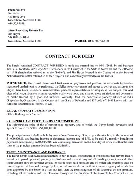 contract for deed template create a free contract for