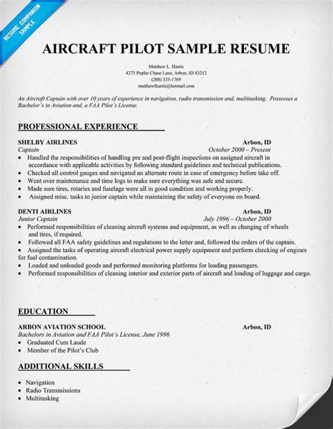 Pilot Resume Template by Resume Without You To Actually Write It Use This