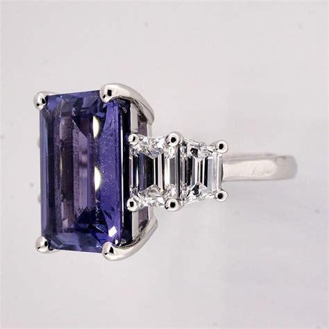 emerald cut sapphire platinum ring at 1stdibs