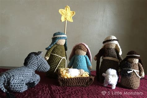 nativity for 5 monsters crocheted nativity set