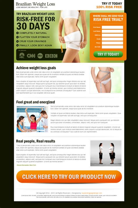 sales landing page template best weight loss landing page design to maximize your