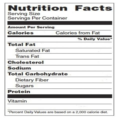 Blank Nutrition Facts Template White Gold Nutrition Chart Template
