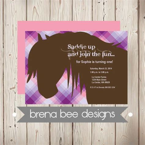 personalized birthday invitations horse by littlebeaneboutique personalized plaid horse invitation custom by