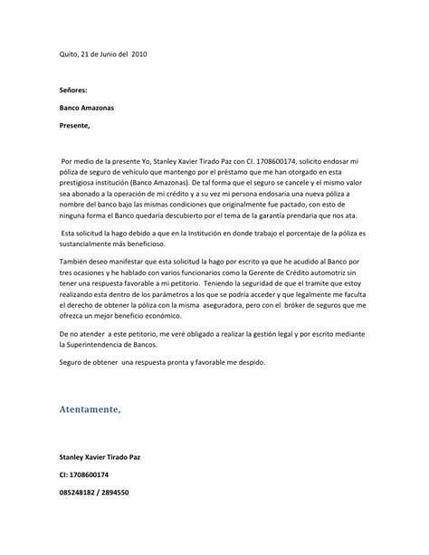 carta cancelacion banco carta banco amazonas