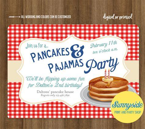 Boys Pancakes And Pajamas Birthday Party Invitation Breakfast Pancakes And Pajamas Invitation Template