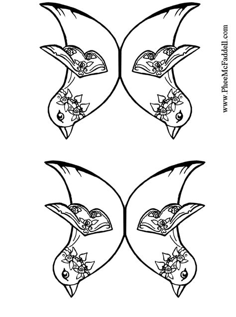 bird wing coloring page two birds with wings attached black and white to color