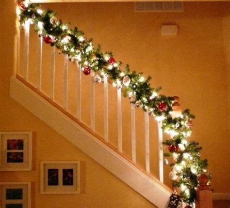 Banister Garland by Stairway Banister Decorated For