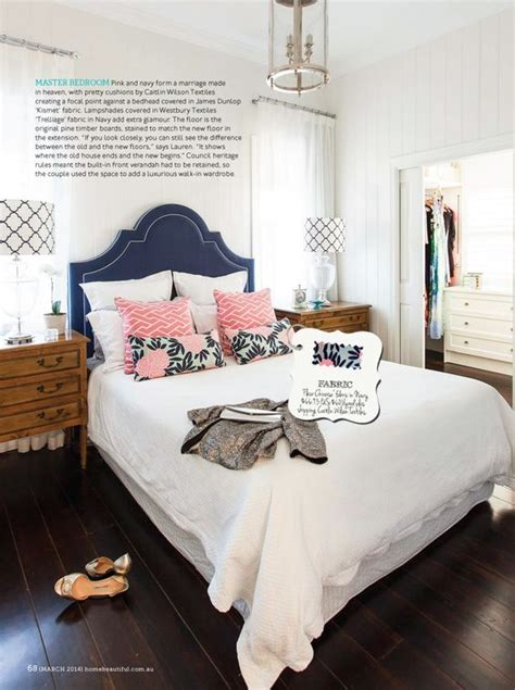 navy and pink bedroom decorating with navy and white beautiful maze and