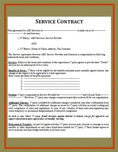 6 Service Contract Templatereport Template Document Report Template Service Contract Template Doc