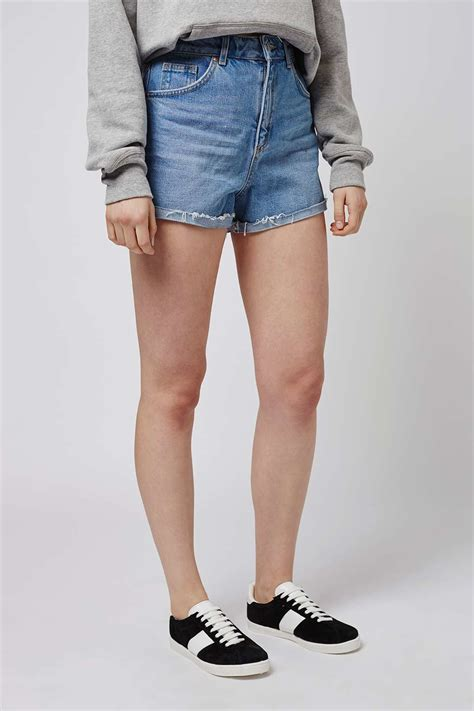 Topshop Comes To America by Lyst Topshop Turn Up Shorts In Blue