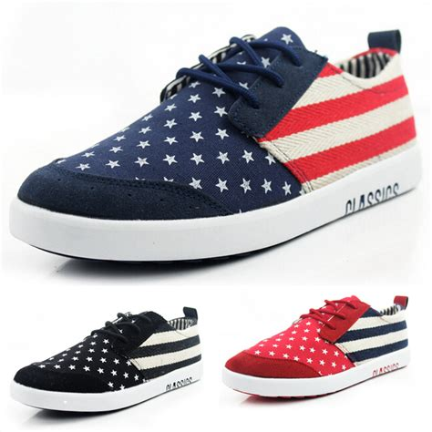 2015 mens casual shoes american flag canvas shoes fashion