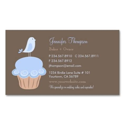 cupcake business card template bird and cupcake business card templates bakery business