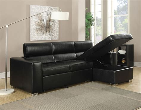 Contemporary Black Bonded Leather Match Sectional Sofa Sectional Sofas With Pull Out Bed