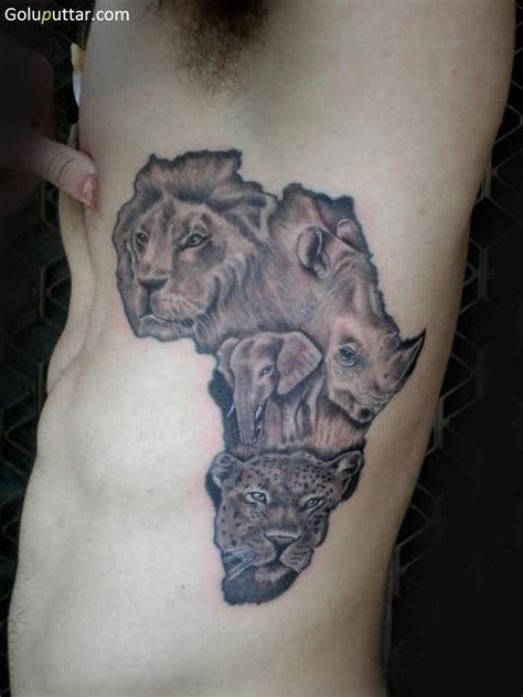 animal tattoos africa map tattoos