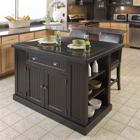 Black Kitchen Island With Stools Black Kitchen Island With Stools Discount Islands