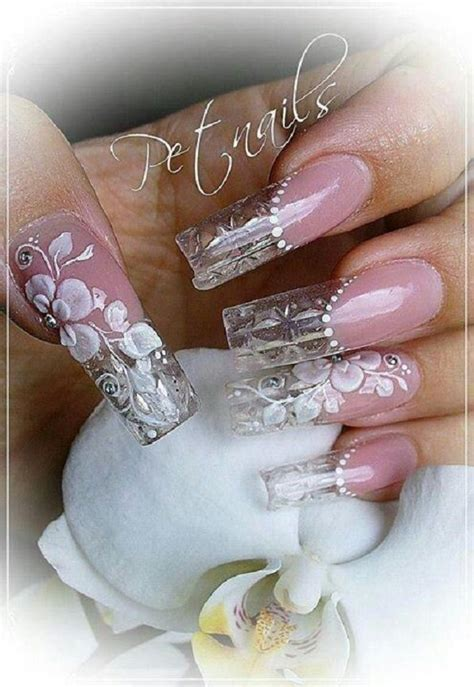Clear Coffin Nails With Design