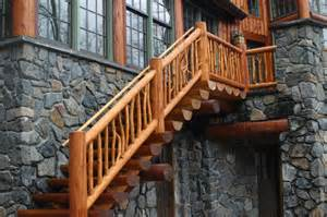 Log Handrail Railing Systems And Stairs The Natural Log Homes