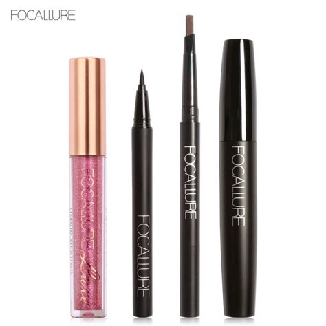 Mascara Cameleon focallure new 4pcs easy lip makeup pretty chameleon matte liquid lipstick mascara black