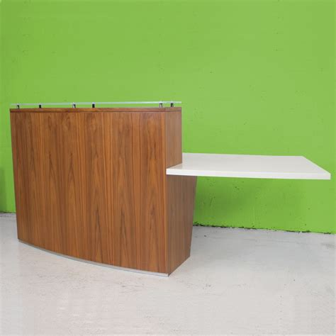 Walnut Reception Desk Walnut Veneer Reception Desk Curved Reception Desk Wooden Counter Unit