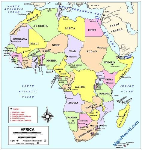 africa country map africa country and capital map